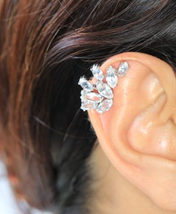 White Topaz Ear Cuffs