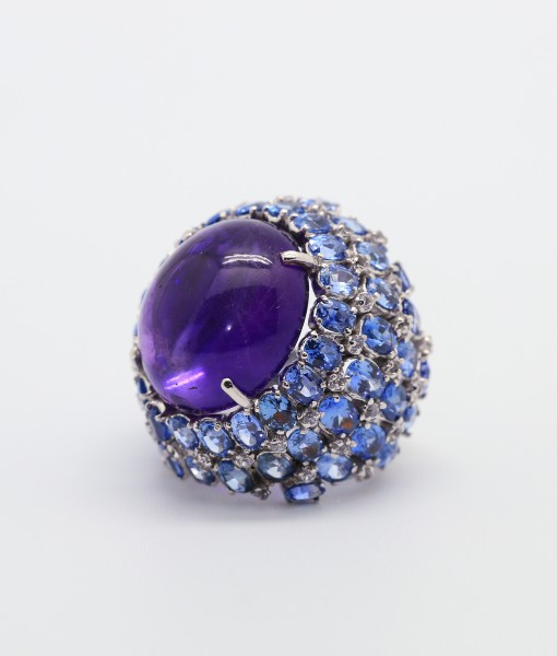 Amethyst and Blue Sapphire Ring