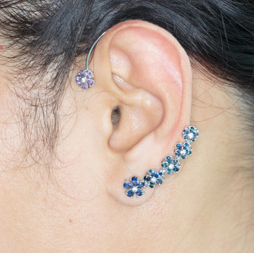 Aiyana's First Work, Blue Sapphire and Pink Sapphire Ear Cuff(s). Click on the image to purchase her Creation!