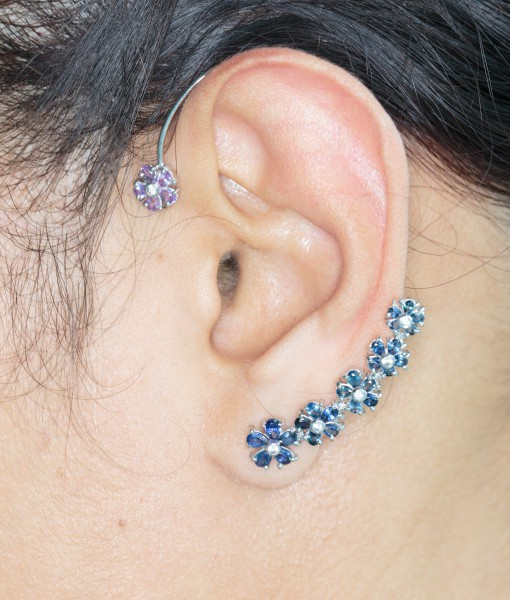 Blue Sapphire and Pink Ashore Ear Cuff(s)