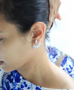 White Topaz Jacket Earrings