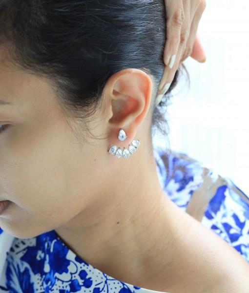 White Topaz Jacket Earrings