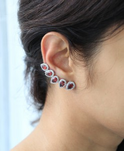 Garnet Cuff Earrings