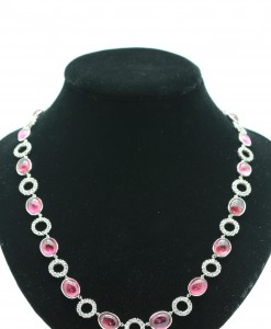 Pink Tourmaline Necklace with White Sapphire