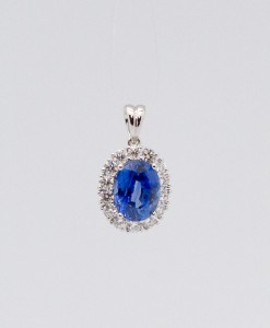 Blue Sapphire and Diamond Pendant